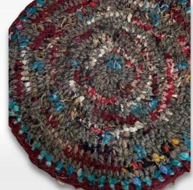 round crochet wool rug from recycled Pendleton blankets