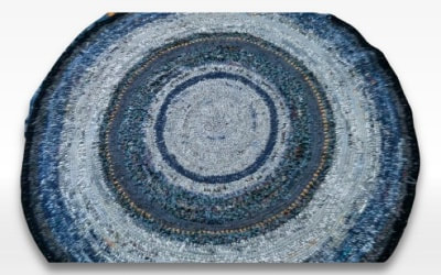 circle crochet recycled wool blanket area rug