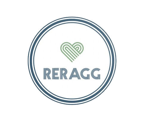 reragg written in a circle with a striped heart which is the logo for reragg