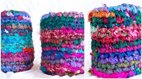 desk organizers made from recycled sari silk ribbon and mason jars or talenti plastic containers