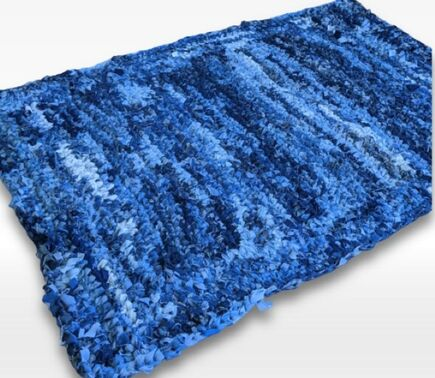 recycled denim rag rug rectangle shaped