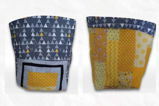 grey and yellow patchwork basket