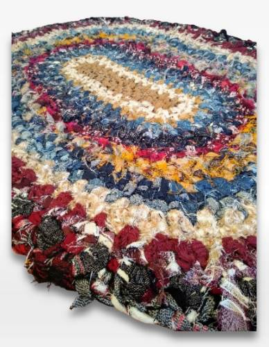 recycled clothing crocheted rag rug oval shape